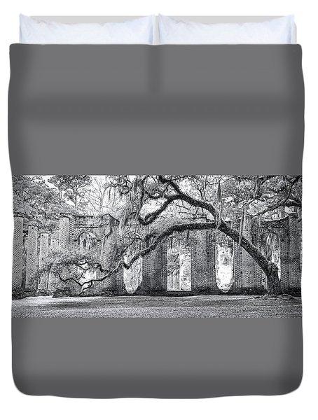 Old Sheldon Church - Side View Duvet Cover by Scott Hansen