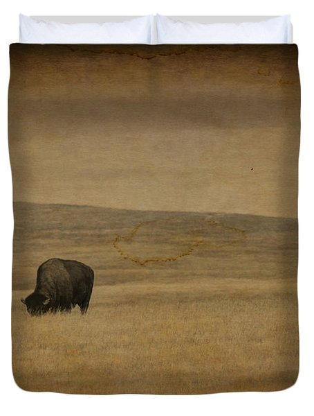 Western Themed South Dakota Bison  Duvet Cover