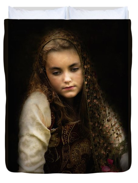 Duvet Cover featuring the photograph Olivia by John Rivera
