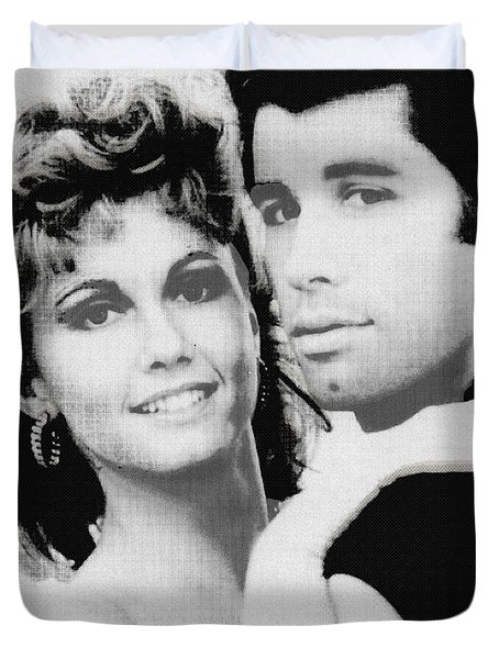 Olivia Newton John And John Travolta In Grease Collage Duvet Cover