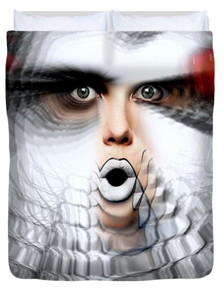 Duvet Cover featuring the painting OMG by Rafael Salazar