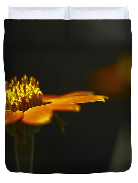 Orange Flower Duvet Cover by Bradley R Youngberg