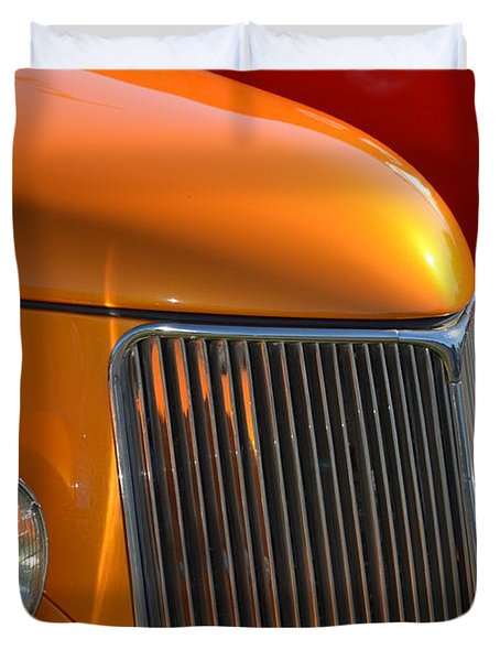 Orange Hotrod Duvet Cover by Dean Ferreira