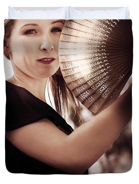 Oriental Fan Woman Duvet Cover