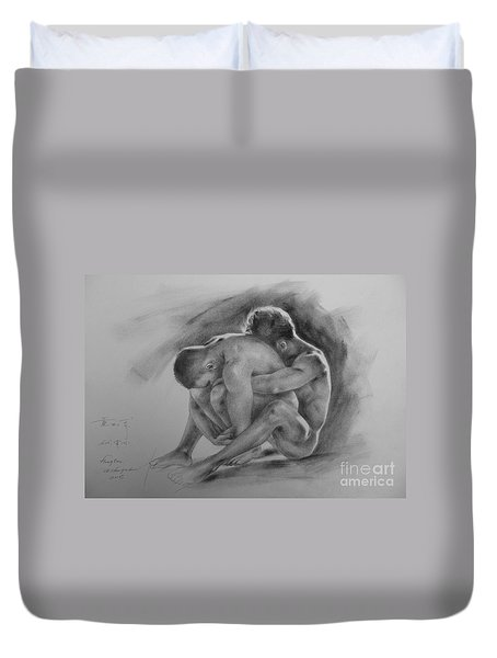 Original Drawing Sketch Charcoal Chalk  Gay Man Portrait Of Cowboy Art Pencil On Paper By Hongtao  Duvet Cover by Hongtao     Huang