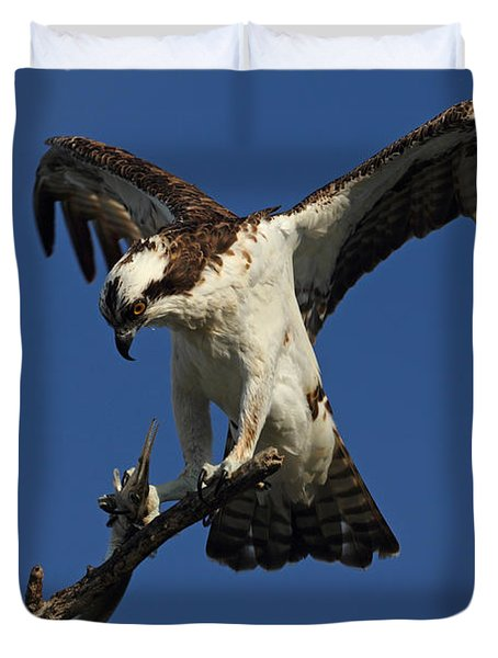 Duvet Cover featuring the photograph Osprey With A Fish Photo by Meg Rousher