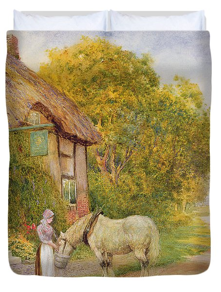 Outside The Village Inn Duvet Cover by Arthur Claude Strachan