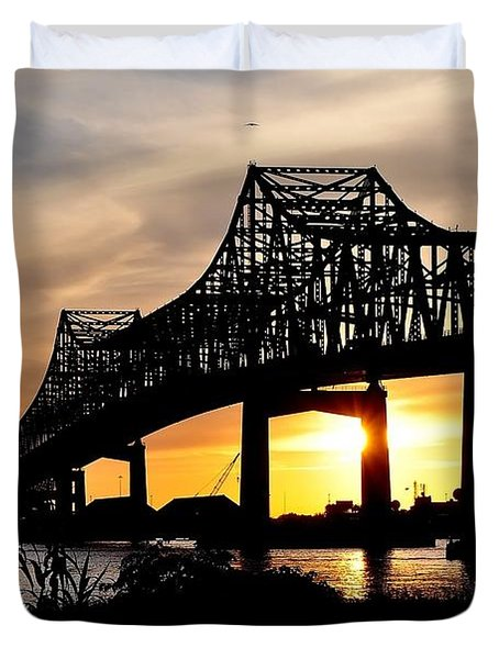 Over The Mississippi Duvet Cover