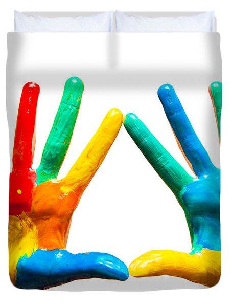 Painted Hands Duvet Cover by Michal Bednarek