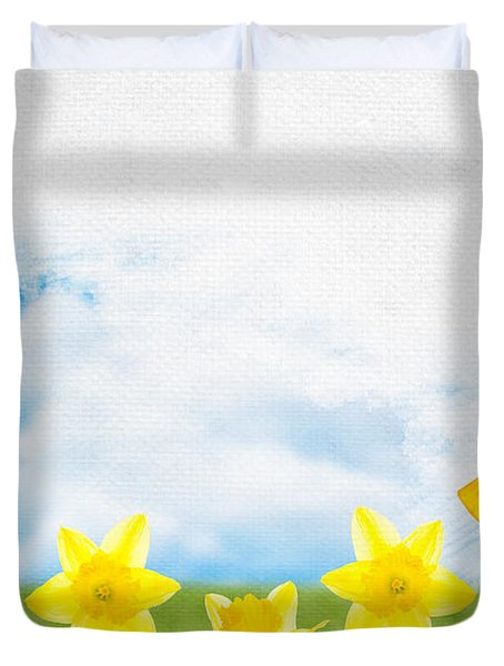 Painting Daffodils Duvet Cover by Amanda Elwell