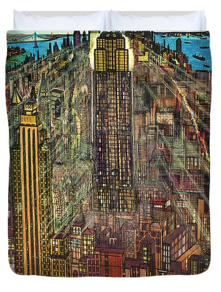 New York Mid Manhattan 1971 Duvet Cover