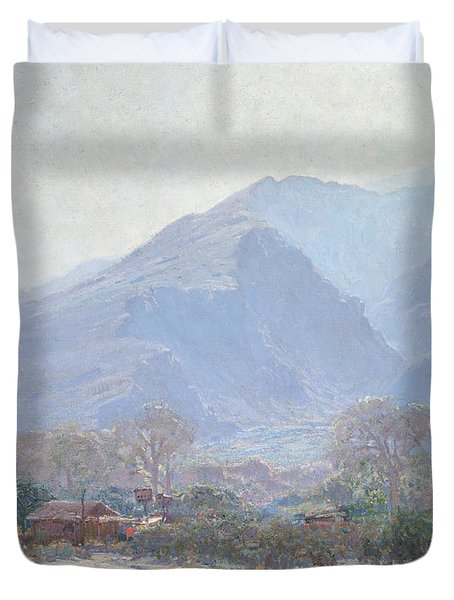 Palm Springs Landscape With Shack Duvet Cover by John Frost