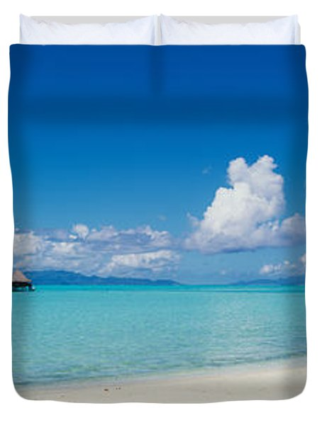 Palm Tree On The Beach, Moana Beach Duvet Cover by Panoramic Images