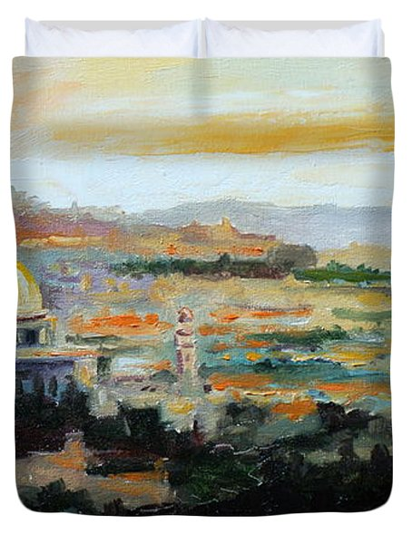 Panorama Of Jerusalem Duvet Cover