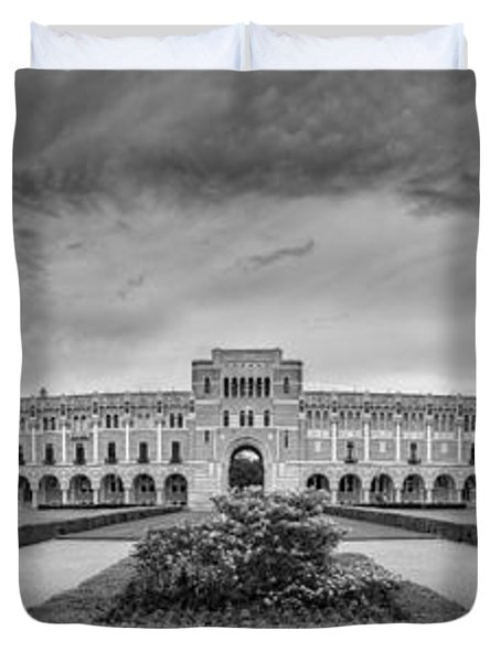 Panorama Of Rice University Academic Quad Black And White - Houston Texas Duvet Cover
