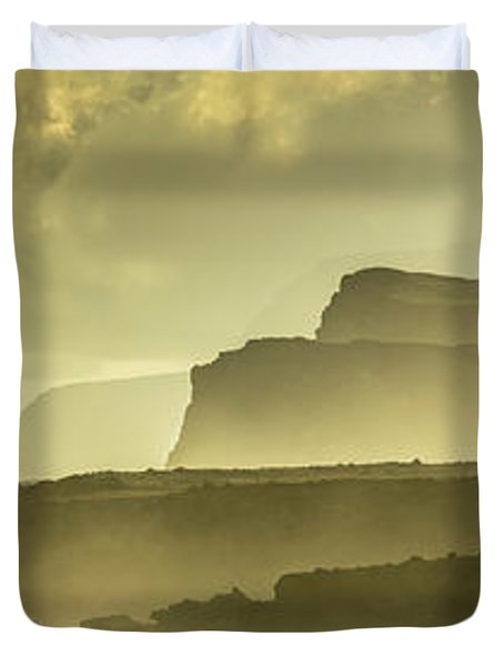 Panoramic Of Molokais North Shore Sea Duvet Cover