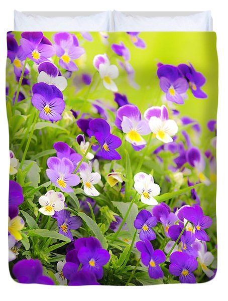 Pansies Duvet Cover by Elena Elisseeva