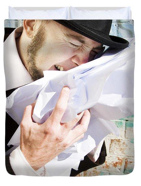 Paperwork Blues Duvet Cover