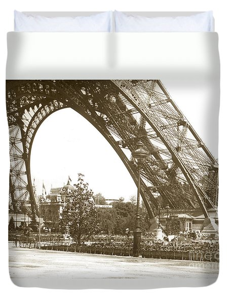 Duvet Cover featuring the photograph Paris Exposition Eiffel Tower Paris France 1900  Historical Photos by California Views Mr Pat Hathaway Archives