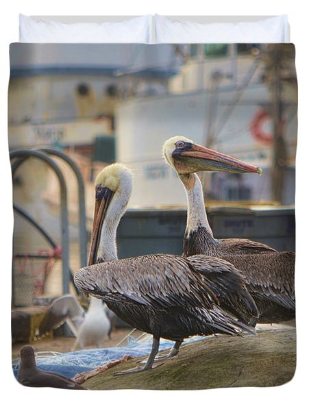 Pelican Duo Duvet Cover by Donna Greene