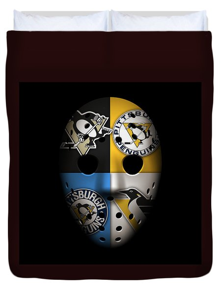 Penguins Goalie Mask Duvet Cover