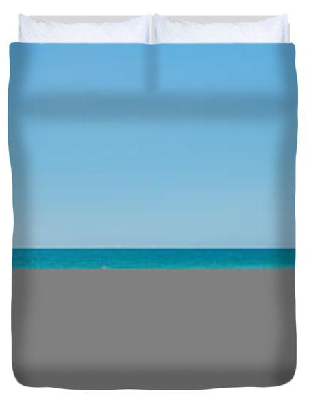 People On The Beach, Venice Beach, Gulf Duvet Cover