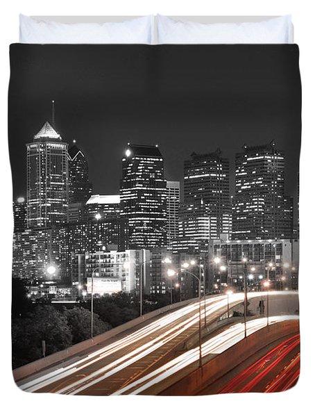 Philadelphia Skyline At Night Black And White Bw  Duvet Cover