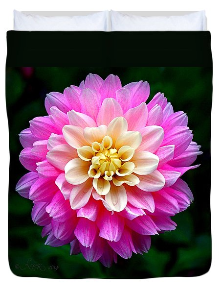 Duvet Cover featuring the photograph Pink Dahlia by Nick Kloepping