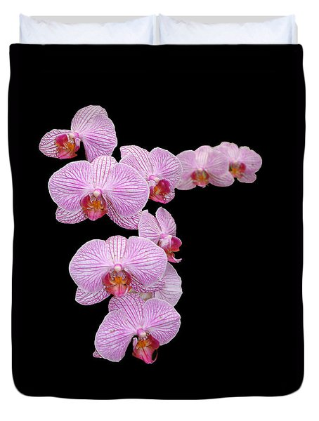 Duvet Cover featuring the photograph Pink Orchids by Tom Prendergast
