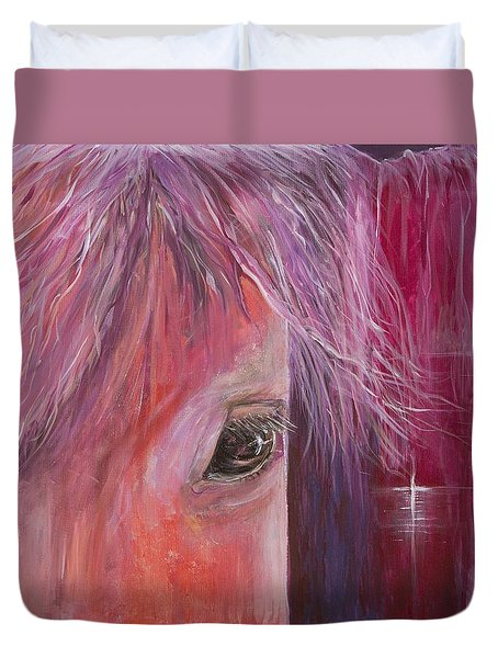 Duvet Cover featuring the painting Pink Pony by Cathy Long