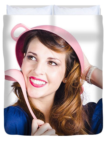 Pinup Cook In Funny Pose Duvet Cover