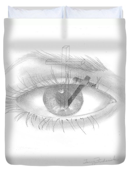 Plank In Eye Duvet Cover by Terry Frederick