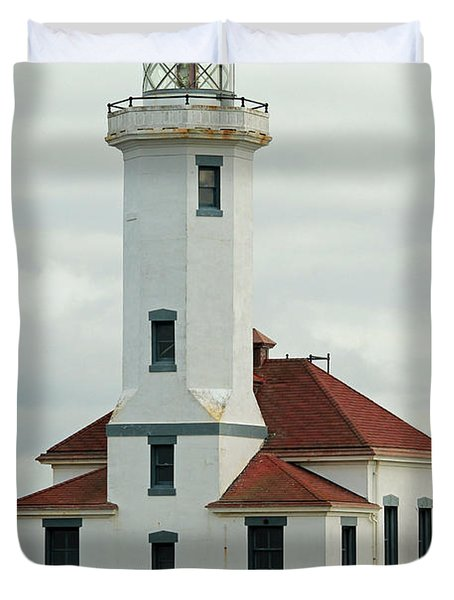 Duvet Cover featuring the photograph Point Wilson Lighthouse by E Faithe Lester