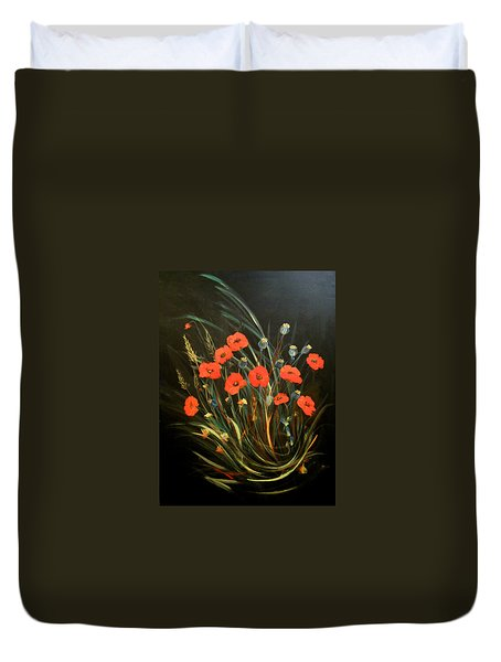 Duvet Cover featuring the painting Poppies by Dorothy Maier