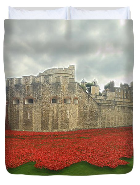 Poppies Tower Of London Collage Duvet Cover