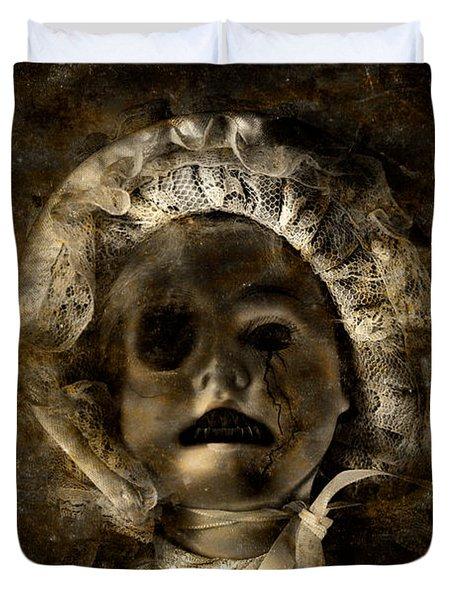 Porcelain Doll Crying Tears Of Cracks Duvet Cover