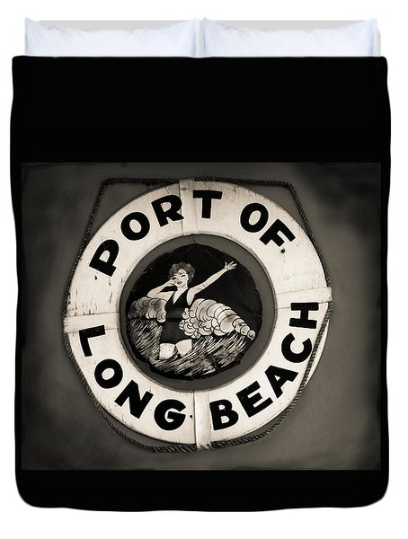 Port Of Long Beach Life Saver Vin By Denise Dube Duvet Cover