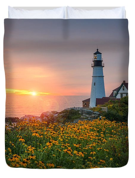 Portland Head Light Sunrise  Duvet Cover