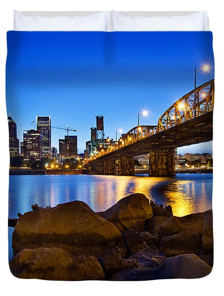 Duvet Cover featuring the photograph Portland Oregon Skyline At Blue Hour by JPLDesigns