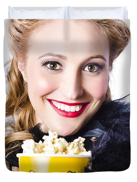 Portrait Of Woman With Popcorn Duvet Cover