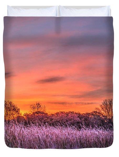 Illinois Prairie Moments Before Sunrise Duvet Cover