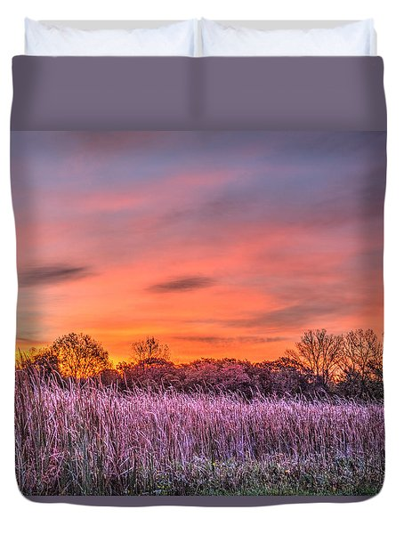 Illinois Prairie Moments Before Sunrise Duvet Cover