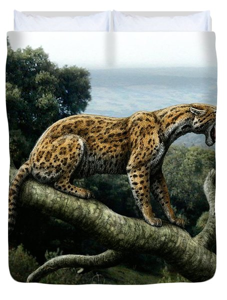 Promegantereon Sabretooth Cat Duvet Cover by Mauricio Anton