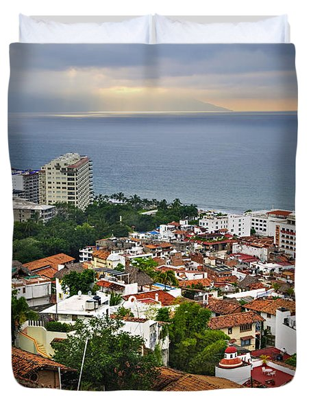 Puerto Vallarta And Pacific Ocean Duvet Cover by Elena Elisseeva