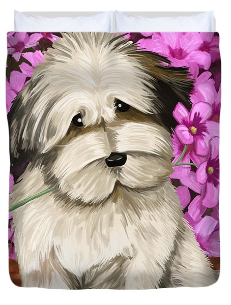 Duvet Cover featuring the painting Puppy In The Flowers by Tim Gilliland