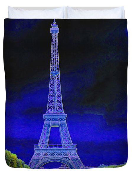 Purple Eiffel Duvet Cover by Chuck Staley