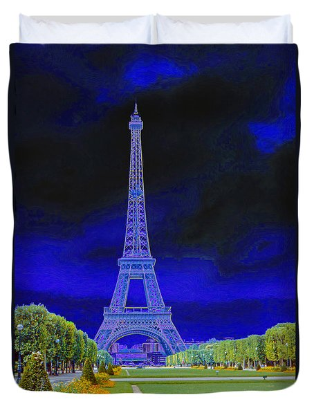 Purple Eiffel Duvet Cover