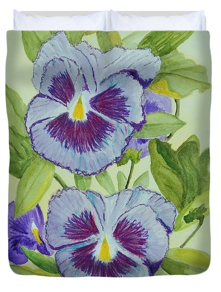 Purple Pansies IIi Duvet Cover