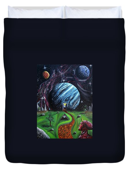 Duvet Cover featuring the painting Quantum Dementia by Ryan Demaree