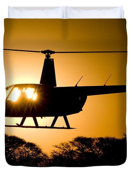 Duvet Cover featuring the photograph R44 Sunset by Paul Job